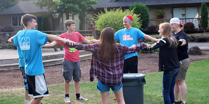 7th and 8th Graders at Camp Yamhill participating in a fun activity during summer camp