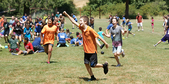Campers at 5th and 6th Grade camp having a great time during the water fight.